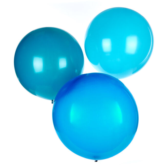 Pack of 3 Helium-Quality 24-Inch Latex Balloons - Teal & Blue