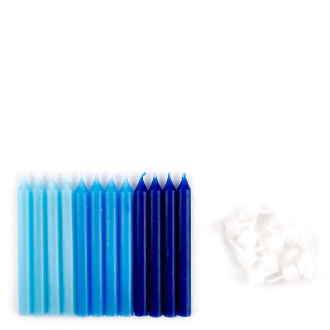 Large Blue Birthday Candles & Holders - Pack Of 12