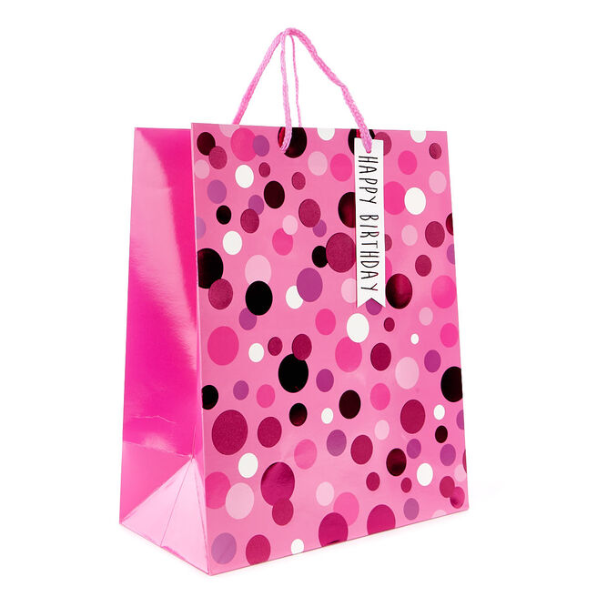 Medium Pink Polka Dot Gift Bag