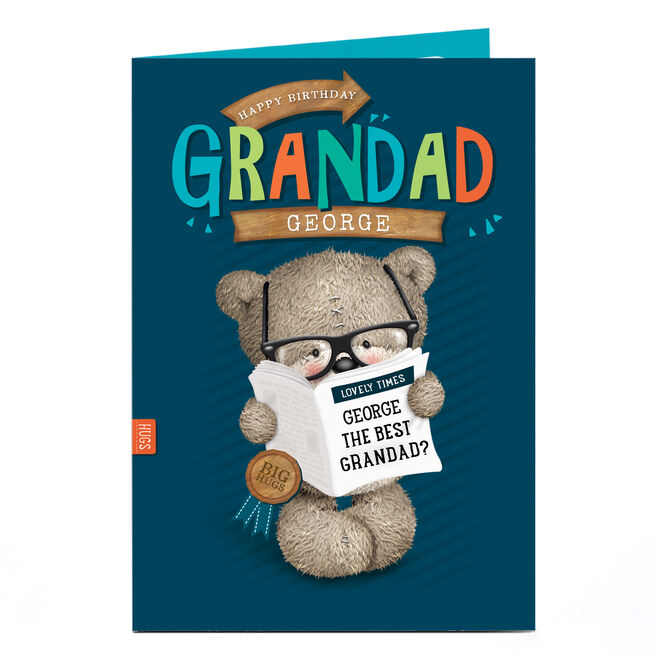 Personalised Hugs Bear Birthday Card - Grandad, News Paper
