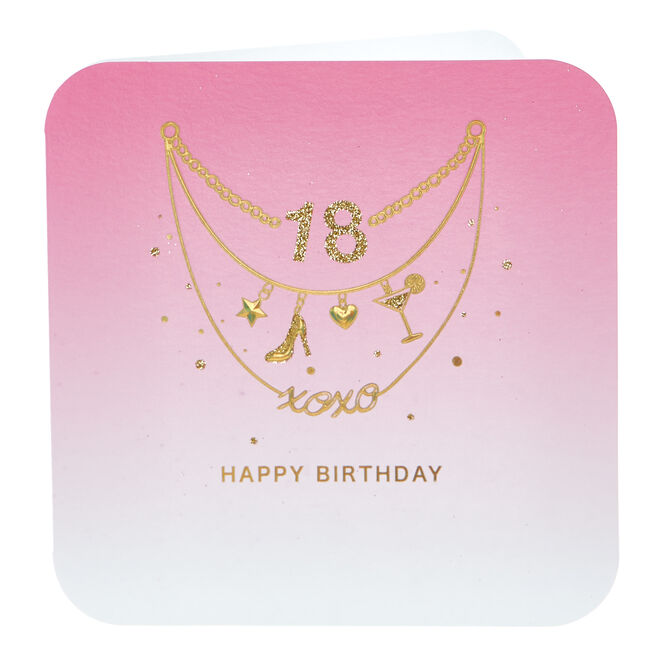 18th Birthday Card - Gold Necklaces
