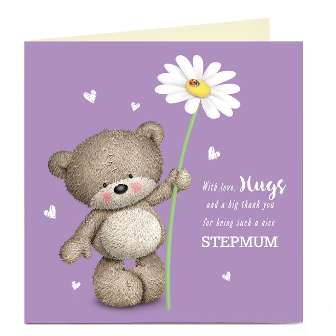Personalised Mother's Day Card - Hugs Bear, Daisy Stepmum