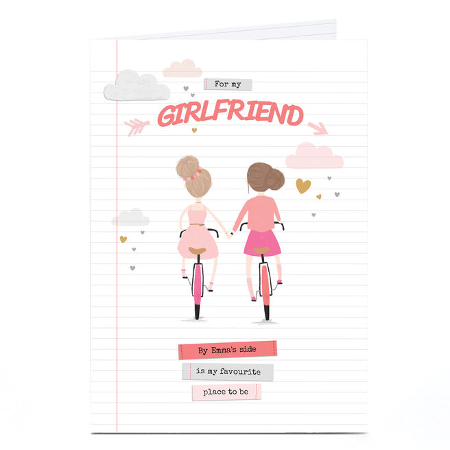 Personalised Card - Girls On Bicycles