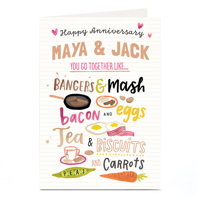 Personalised Anniversary Card - Go Together Like