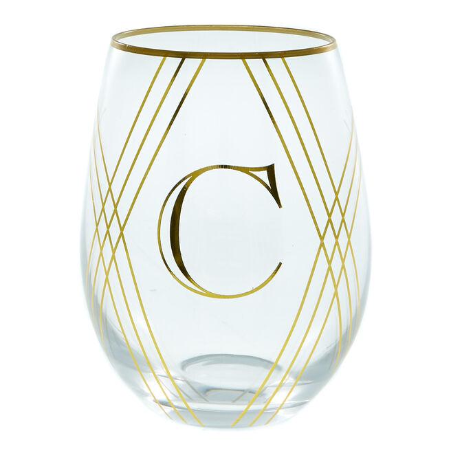 Letter C Glass Tumbler
