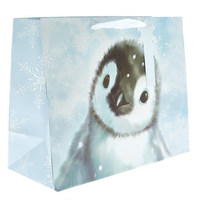 Medium Landscape Penguin Christmas Gift Bag