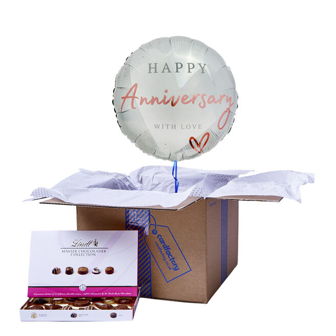 With Love Happy Anniversary Balloon & Chocolate Box