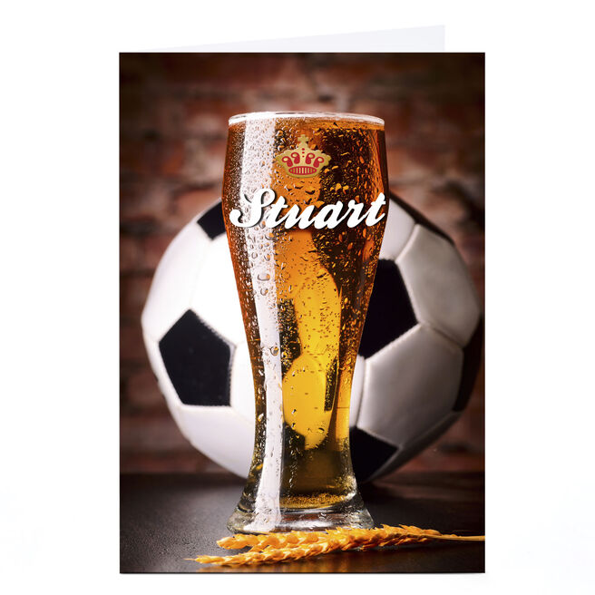 Personalised Card - Football & Beer, Any Name