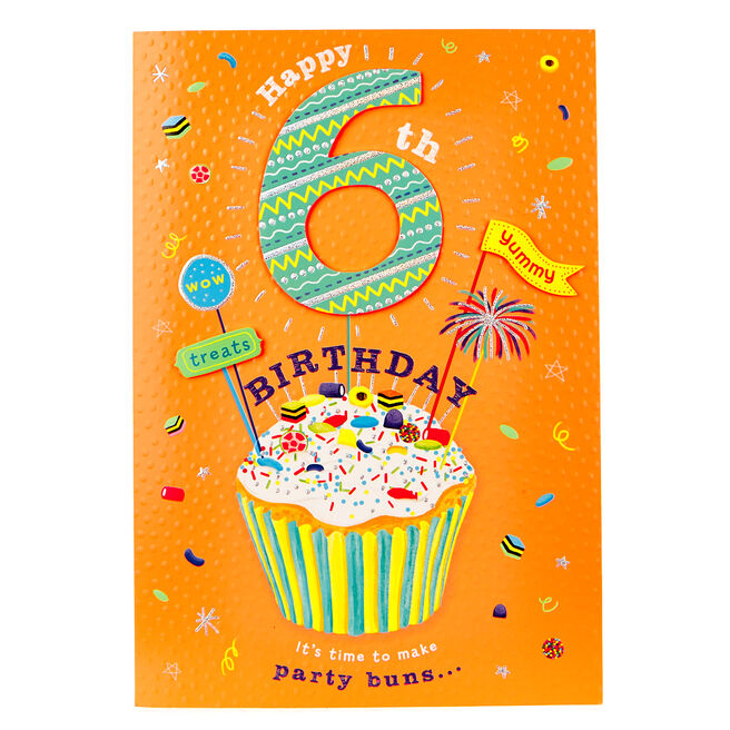 6th Birthday Card - Neon Party Buns With Cupcake Recipe