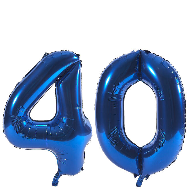 Age 40 Giant Foil Helium Numeral Balloons - Blue (deflated)
