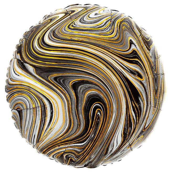 Black Marble-Effect 17-Inch Round Foil Helium Balloon