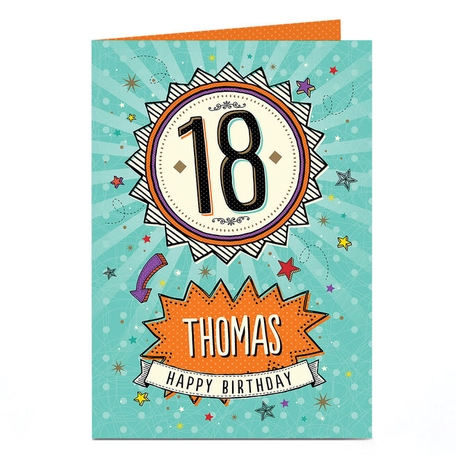 Personalised 18th Birthday Card - Rosette