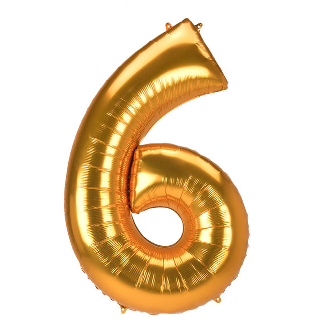 JUMBO 53-Inch Gold Foil Number 6 Balloon (Deflated)