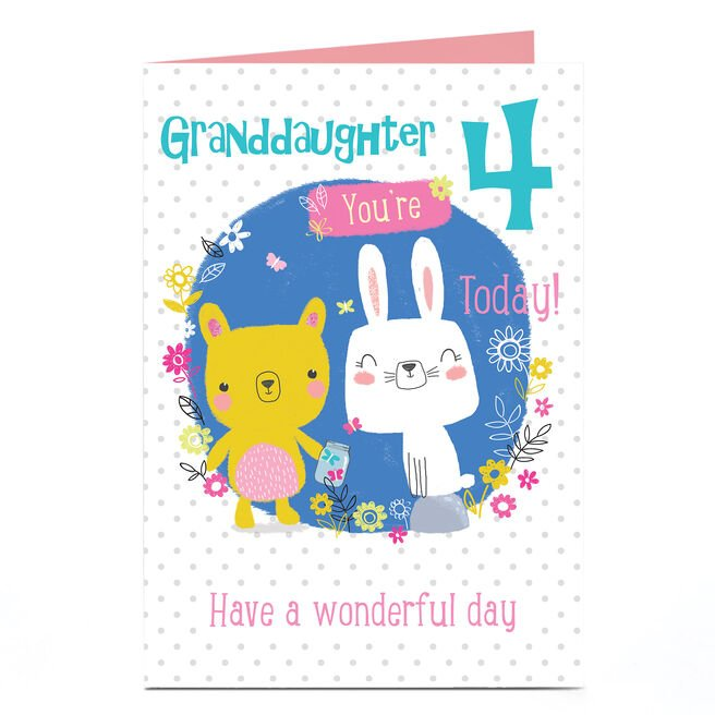 Personalised Any Age Birthday Card - Bunny & Bear, Granddaughter