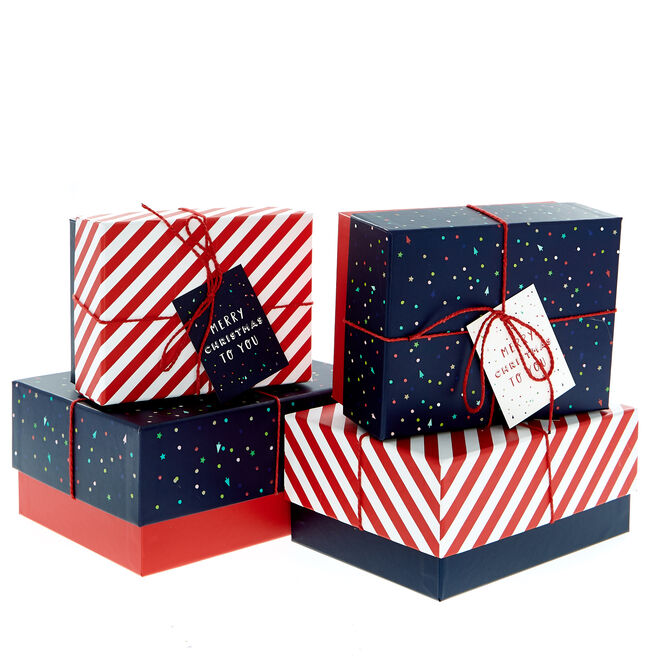 Candy Stripes & Spots Christmas Gift Boxes - Set Of 4