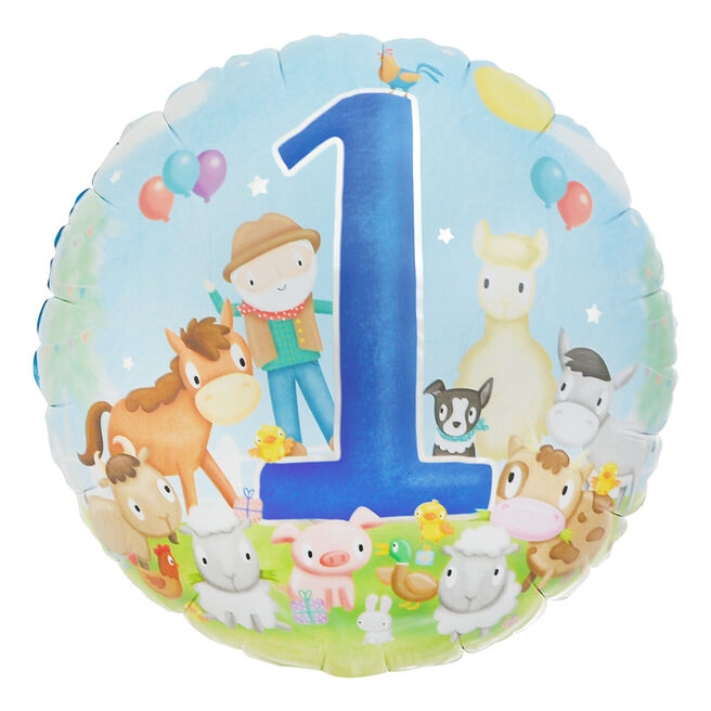Farmyard Friends 1st Birthday 18-Inch Foil Helium Balloon