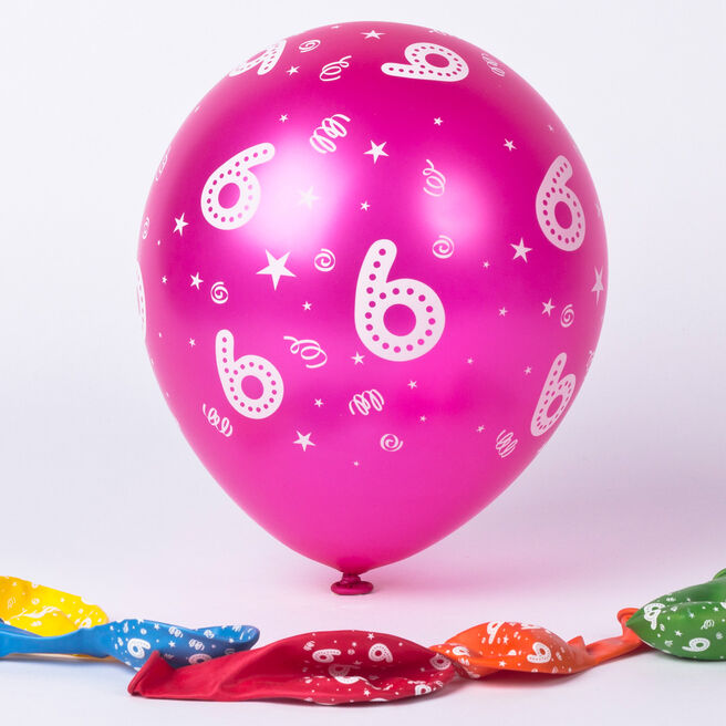 Multicoloured 6th Birthday Latex Balloons - Pack Of 6