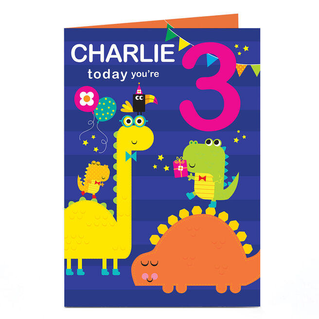 Personalised Any Age Birthday Card - Dinosaur Party