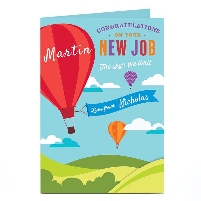 Personalised New Job Card - Hot Air Balloon