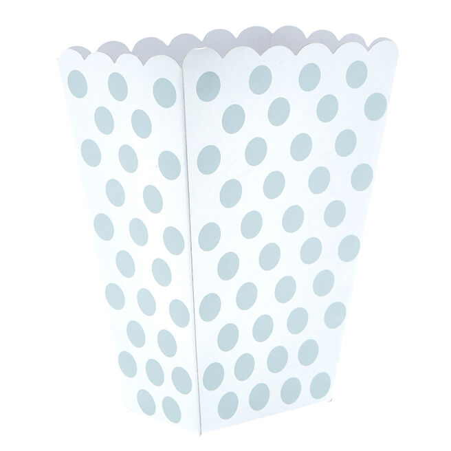 Silver & White Dotty Treat Boxes - Pack Of 8
