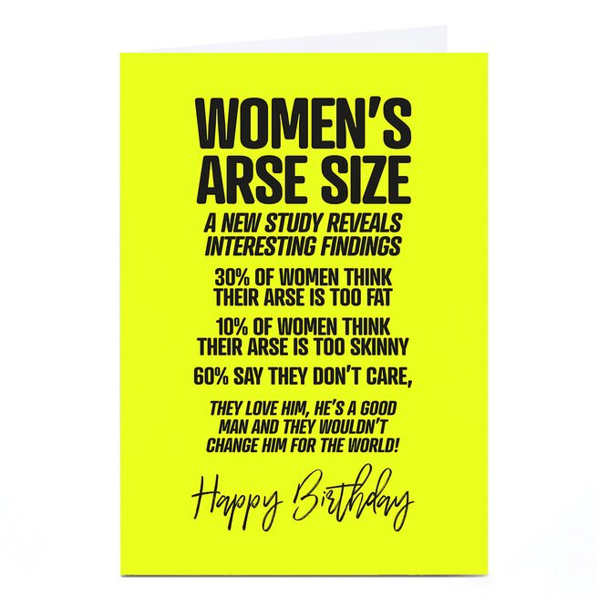 Personalised Punk Birthday Card - Women's Arse Size