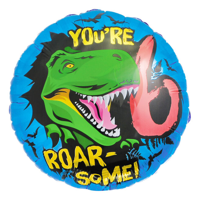 You're Roar-Some! 6th Birthday 18-Inch Foil Helium Balloon
