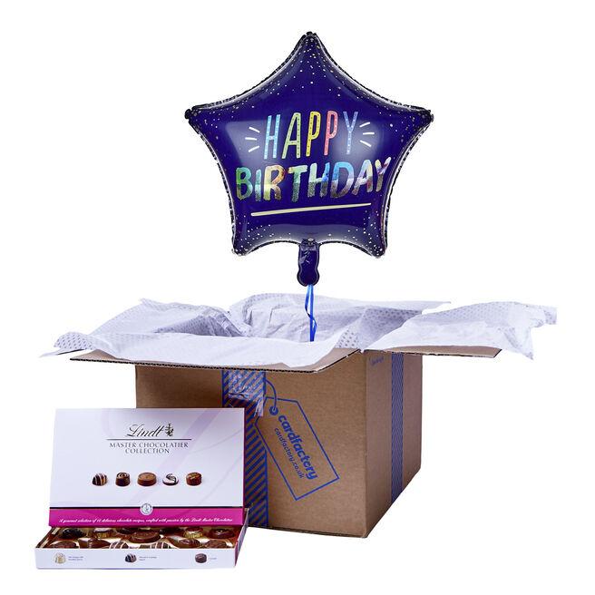 Blue Star Happy Birthday Balloon & Chocolate Box