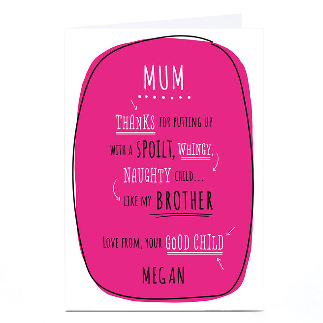 Personalised Mother's Day Card - From Your Good Child