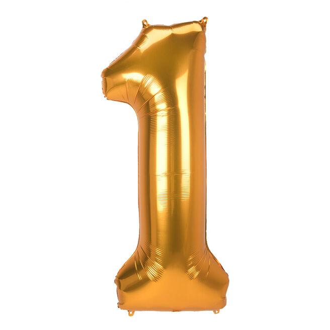 JUMBO 53-Inch Gold Foil Number 1 Balloon (Deflated)