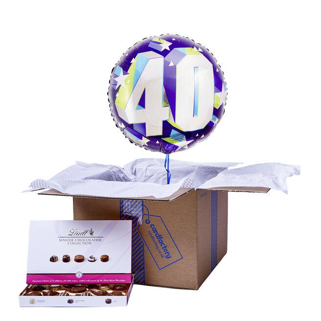 Purple 40th Birthday Balloon & Chocolate Box