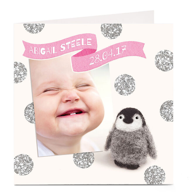 Photo Card New Baby - Pink Penguin