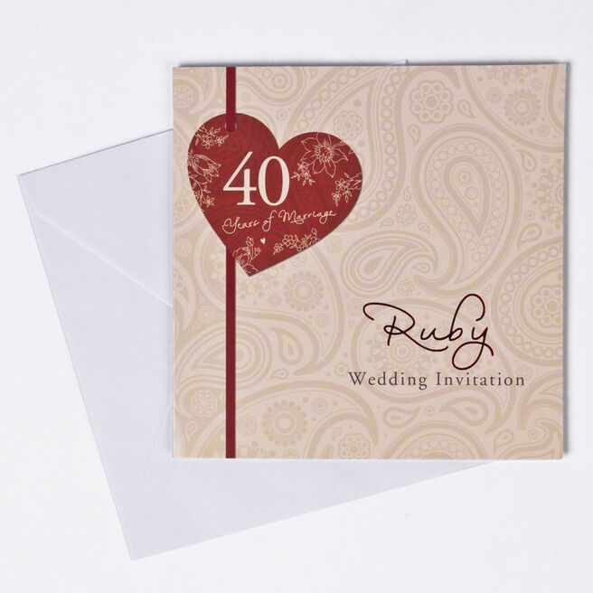 40th Ruby Anniversary Invitation Cards - Pack Of 10