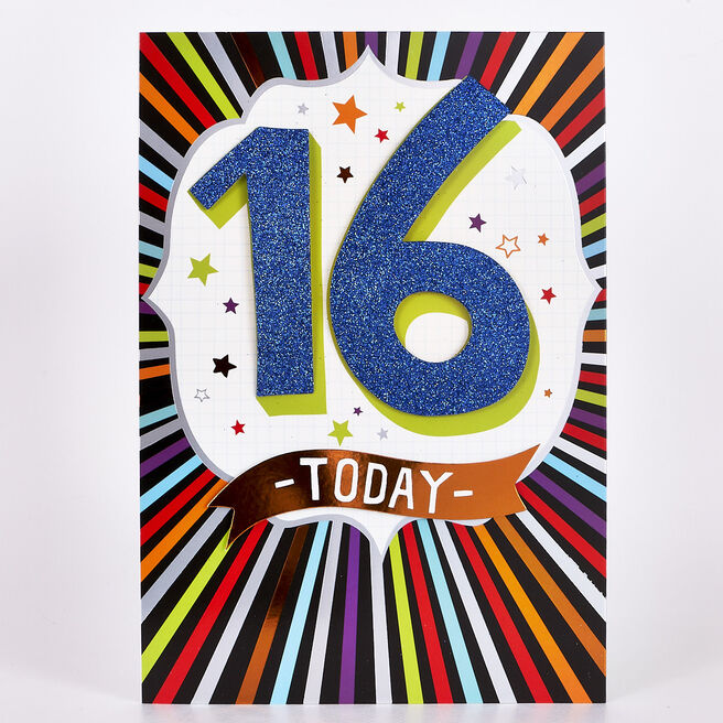 Signature Collection Birthday Card - 16 Today Colourful Stripes