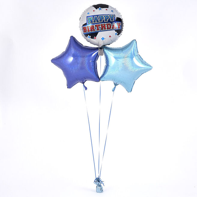 Happy Birthday Football Blue Balloon Bouquet - The Perfect Gift!