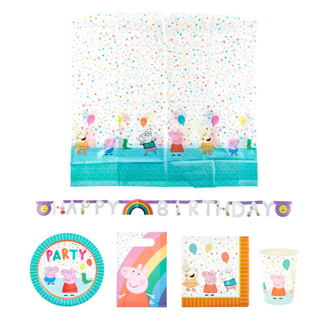 Peppa Pig Birthday Party Tableware & Decorations Bundle - 82 Pieces
