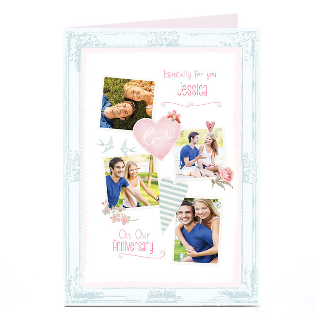 Photo Anniversary Card - Blue Frame, Swallows & Hearts
