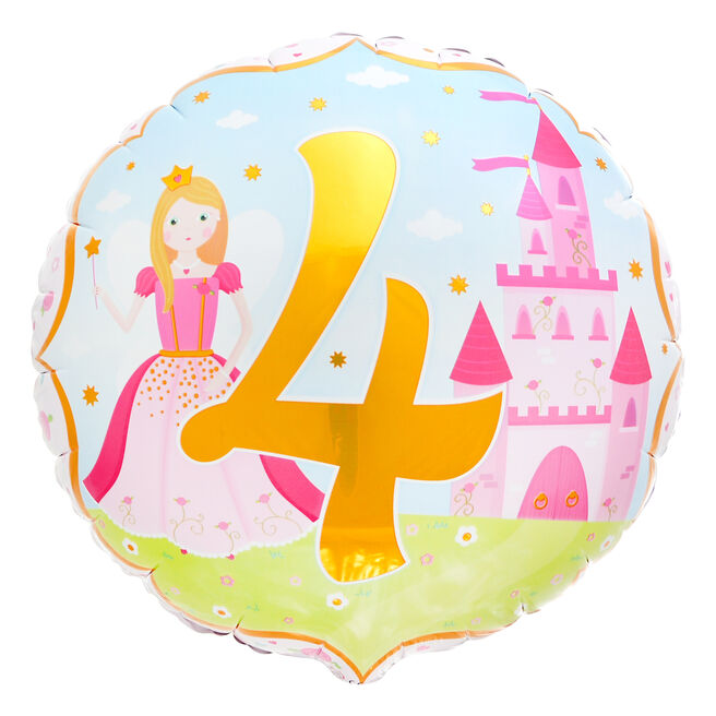 Princess 4th Birthday 18-Inch Foil Helium Balloon