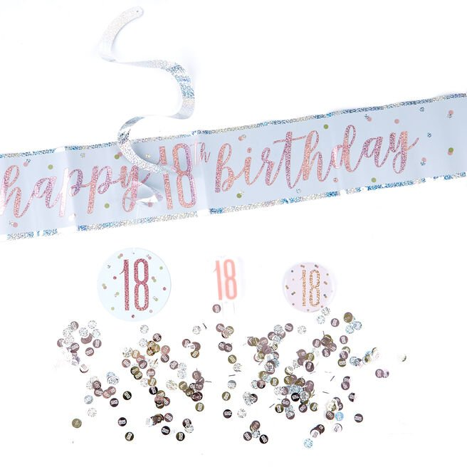 Rose Gold 18th Birthday Party Accessories Kit - 11 Pieces