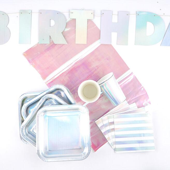 Iridescent Birthday Party Tableware Bundle - 66 Pieces