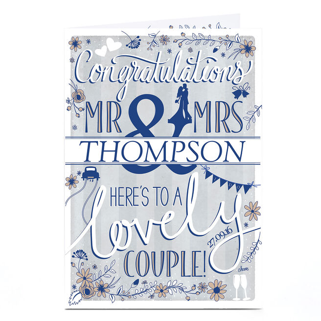 Personalised Wedding Card - Here's To A Lovely Couple