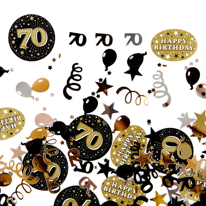 70th Birthday Gold Foiletti - Pack Of Three