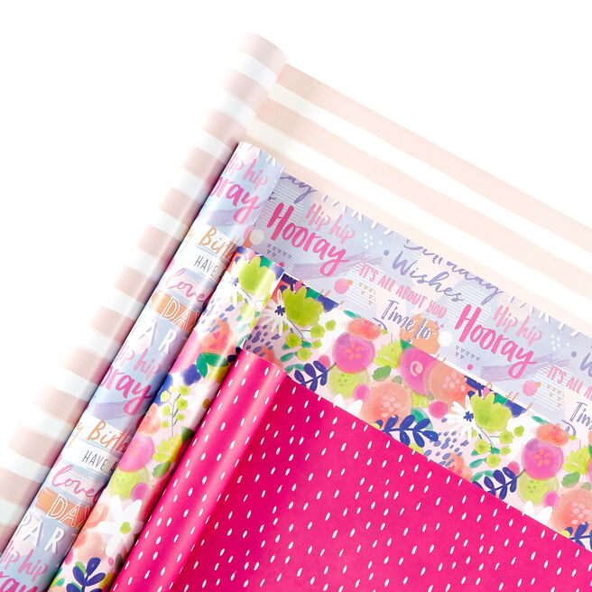 Assorted Pretty Wrapping Paper - 4 Rolls