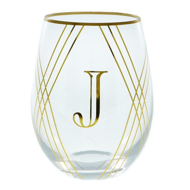 Letter J Glass Tumbler