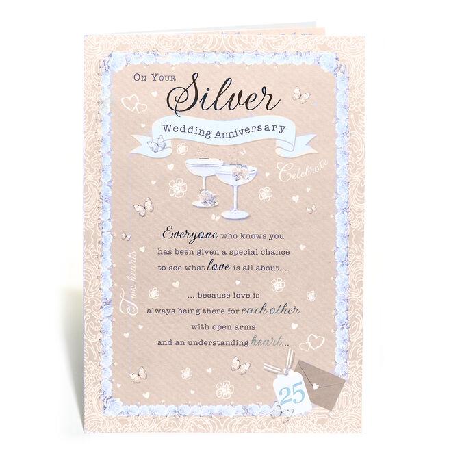 25th Wedding Anniversary Card - Silver