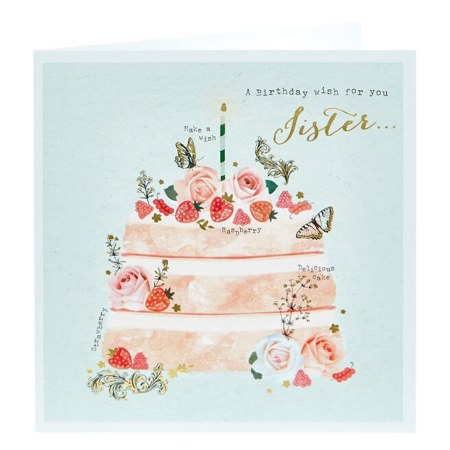 Birthday Card - A Wish For You Sister
