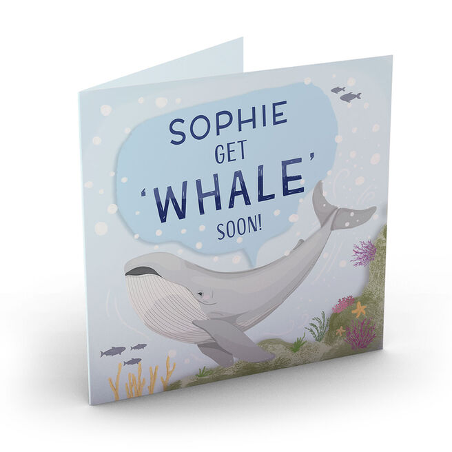 Personalised Get Well Soon Card - Get Whale Soon