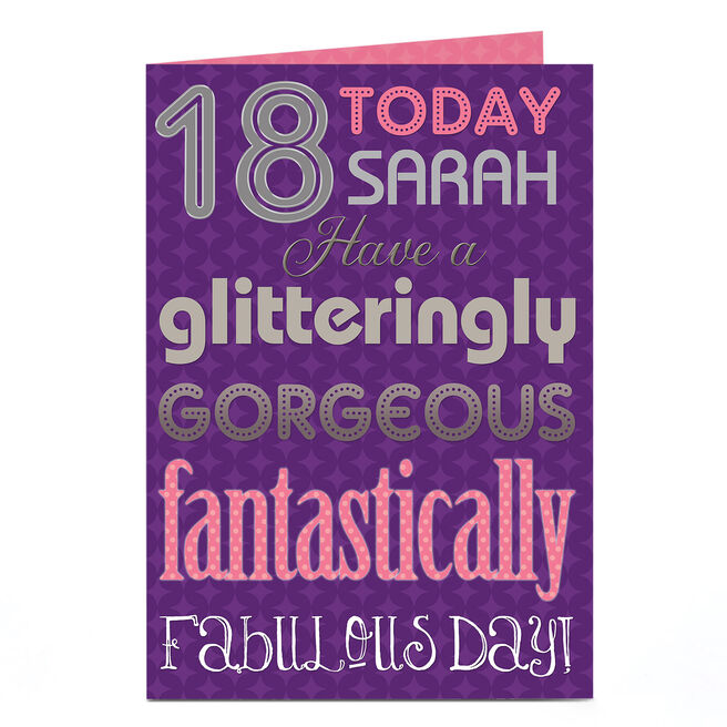 Personalised 18th Birthday Card - Glitteringly Gorgeous