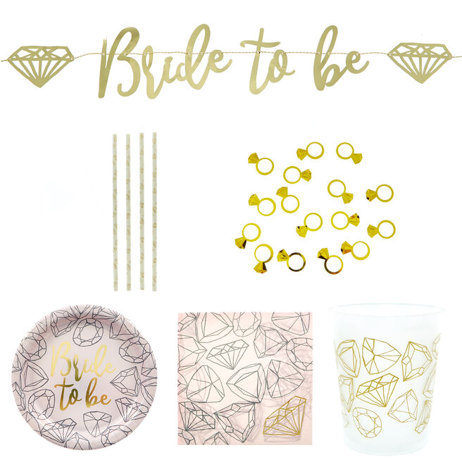 Bride To Be Hen Party Tableware Bundle - 8 Guests