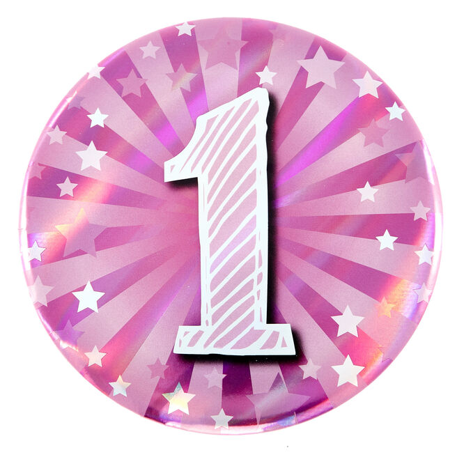 Giant 1st Birthday Badge - Pink