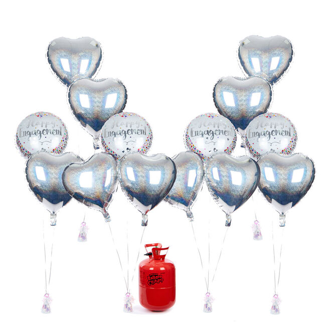 Happy Engagement Balloon Bundle - White & Silver Stars & Helium - FREE NEXT DAY DELIVERY